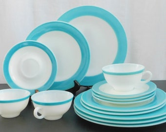 Vintage Pyrex Tableware, White Milk Glass with Turquoise Aqua Blue Band, Rare, Hard To Find, Gold Stamp, Retro Vintage Kitchen, Old Pyrex