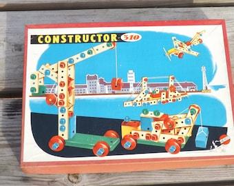 Constructor. Heros. Jouet bois. Genre Meccano Lego. Vintage. Western Germany. Allemagne