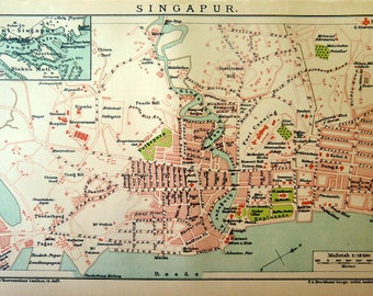 Map print of Singapur city, 113 years old ANTIQUE vintage 1904 engraving, original plan color lithograph, Asian plate.
