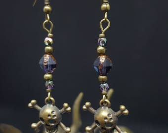 Pirate's Tresure - pearls - pearls of Bohemia - Czech glass skull - pirate - Navy - ocean - Bohemian - Gothic earrings