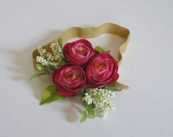 Pink rose floral gold headband