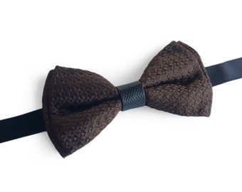 "Brown Silk Pre Tied Bow Tie ""Buisson"", Best Handmade Gift for Man, Weddings, Birthday, Valentines Day"