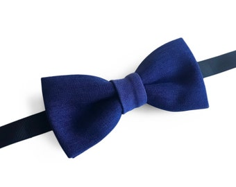 "Solid Blue Pre Tied Bow Tie ""Briand"", Best Handmade Gift for Man, Weddings, Birthday, Valentines Day"