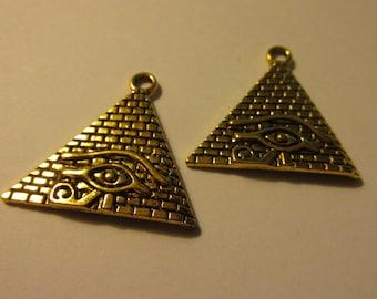 "Egyptian Eye of Horus Triangular Pyramid Charms, 1 1/4"", Set of 2"