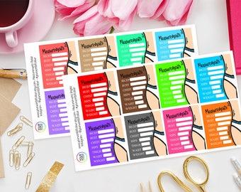 Body Measurements Planner Stickers, Erin Condren, Filofax, Happy Planner, Full Box, Fitness, Health, Diet, Measurement Tracker