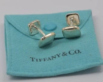 Sterling Silver Tiffany & Co. 1999 Cuff Links, Dog Bone Style with Pouch