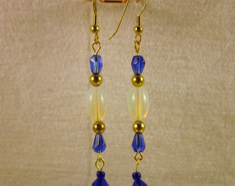 Beaded dangles - Royal Blue & Opal glass