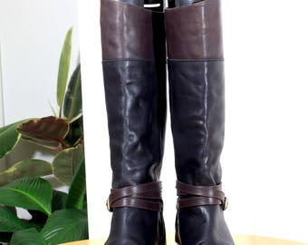Black and Brown Leather Knee High Boots Size 40, Ladies Boots, Knee Length Boots, Brown and Black Boots, Winter Boots, Riding Boots