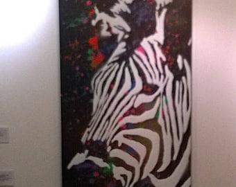 Blending In - spray paint art on canvas -