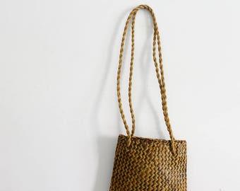 Womens wicker bag shoulder basket bag woven sisal purse fashion small straw bag with handles vintage