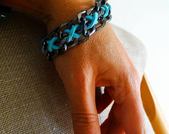 Colorful super chunky bracelet wife bracelet gift agua blue metal chain bracelet braided leather bracelet suede wife statement jewelry