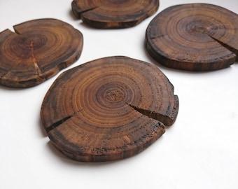 Wood Slice Coasters - Natural Wood Coaster - Unique Wood Coasters - Lightning Wood - Small Rustic Housewarming Gift - Rustic Coaster Set