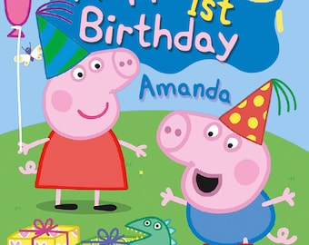 Peppa Pig photo personalised Birthday Greetings card with free envelope and postage!