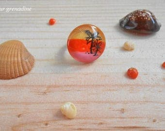 Exotic cabochon ring sunset Palm tree, gift idea celebrates the big day, Easter