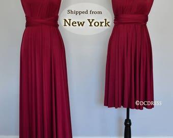Burgundy infinity bridesmaid dress, convertible dresses, party dress, twist wrap dress, sleeveless dress, Evening Dress