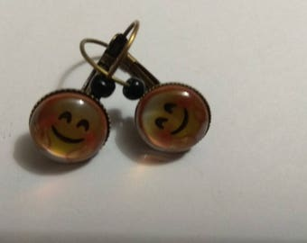 happy smiley face cabochon earrings, bronze metal