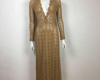 Vtg 70s body con crochet sheer maxi dress wiggle