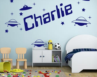 Flying Saucers UFO Stars Personalised ANY NAME Space Rocket Girls Boys Kids Bedroom Decor Vinyl Wall Art Sticker Decal 20 colours 3 Sizes