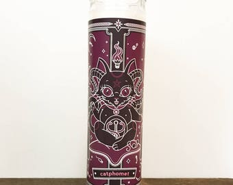 Purrple Catphomet Occult Baphomet // 7 Day Altar Candle, Saint Candle