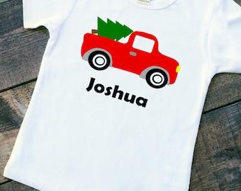 Red truck Christmas tree boy bodysuit toddler tshirt