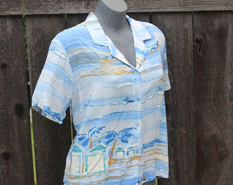 Vintage Button Up Blouse, Jams World, Beach Scene Print, Blue, 90's,Button down Shirt, Blue Mist, Made in the USA, Plus Size, Size XL