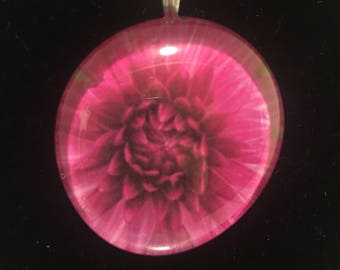 Flower Dahlia Love Pendant Necklace