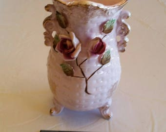 "antique 3 footed pink 8"" vase w/ applied roses & green leaves - pottery porcelain ceramic basket weave design - double handles breast cancer"