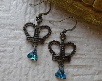 Crown Earrings/Swarovski Crystal Earrings/Deep Blue Earrings/Royalty Earrings/Queen Crown earrings/free shipping
