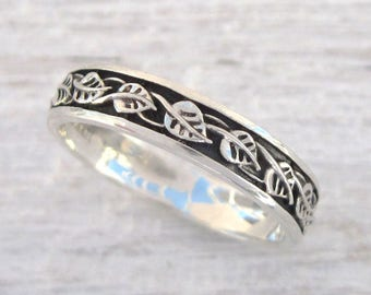 Silver Nature Ring, Leaves Ring, Silver Leaf Band, Leaf Band, Starling Silver Band, Botanical Ring, Nature Wedding Band, Silver Leaf Ring
