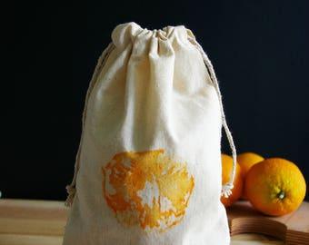 Bag loose (medium) Zero waste in organic cotton muslin - orange pattern