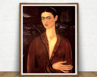 Frida Kahlo Self-Portrait Printable, Frida Kahlo Digital Download, Frida Kahlo Poster, Vintage Decor, Kahlo Painting Reproduction Artwork