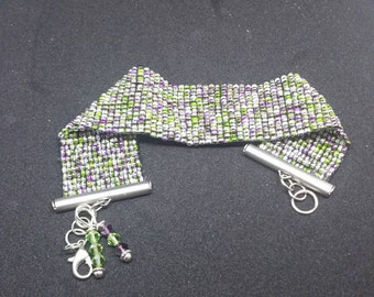 0251-Hand Woven Violet and Green Cuff Bracelet