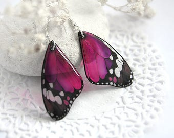 Dark pink earrings for girl Gift for women jewelry Pink butterfly earrings Resin jewelry Crimson earrings Fuchsia jewelry Magenta earrings