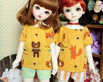 Mr Fox & Mr Bear T-Shirt | MSD, yoSD | Bjd Clothing