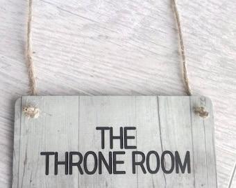 The Throne Room, bathroom door sign, bathroom decor, home decor, bathroom fun, bathroom door hanging, bathroom wall hanging, fun home  gift