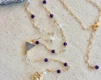 Amethyst and Crystal Quartz Y Necklace, Wire Wrapped, Druzy Connector,  Crystal Quartz Pendant, Amethyst Gemstone, Gold Filled Chain