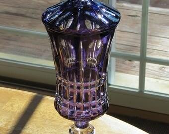Bohemian Cut-to-Clear Rare Purple Lidded Pedestal Candy Jar