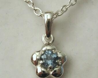 Genuine SOLID 925 Sterling Silver March Birthstone Daisy Aquamarine Pendant