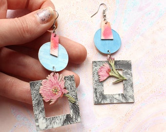 Square and Circle Pink Flower Dangle Earrings
