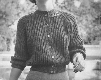 Vintage Women's Button-Up Ribbed Sweater Knitting Pattern PDF 1954