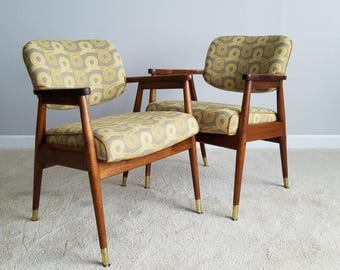 Mid Century Chair Pair - Walnut Frame, Newly Upholstered Accent Chairs