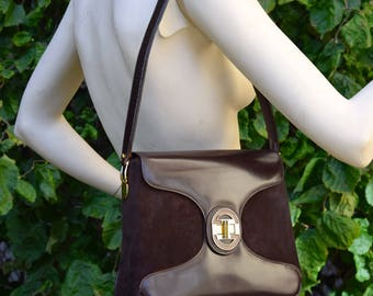 GUCCI 1970 Leather and Suede Shoulder Bag