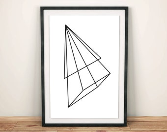 Prisms Collection Pyramid, Lines design, Minimal Illustration, Scandinavian Decor, Pyramid Illustration, Geometry Wall Art, Instant Download