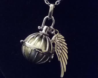 Pretty Silver Cage Harmony Ball Angel Caller Pendant Necklace