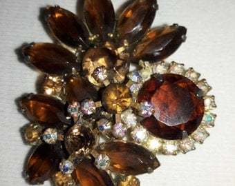 Root Beer and Iridescent Rhinestone Vintage Brooch Pin