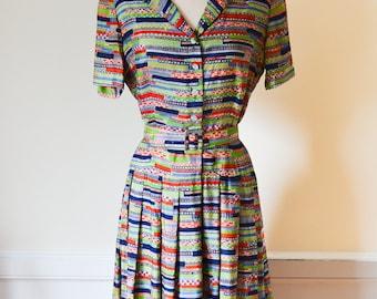 "1940s Geometric Print Dress/Waist 32"""