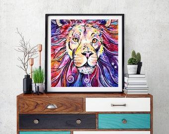 Lion Art Print, Fantasy lion, Lion wall decor, Lion gift idea, Abstract lion, Lion art decor, Lion print, Lion