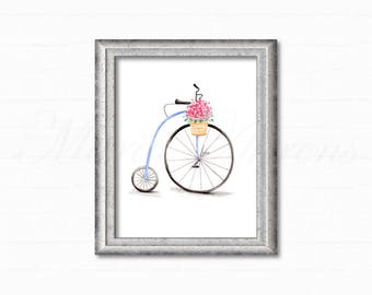Vintage Bicycle Print, Watercolor Print, Art Print, Vintage Inspired, Home Decor, Office Decor, Gifts for Her, Biking Gift, 8x10