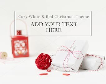 Xmas Styled Stock Photography, Cozy White & Red Christmas Theme, Photo for Instagram Social Media - High Res Jpeg file for website header
