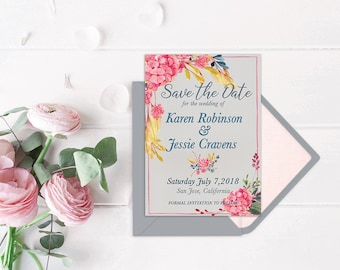 Floral Save the Date Printable, Watercolor Save the Date, Grey Save the Date, Botanical Save the Date, 5x7 PDF JPG Digital Download
